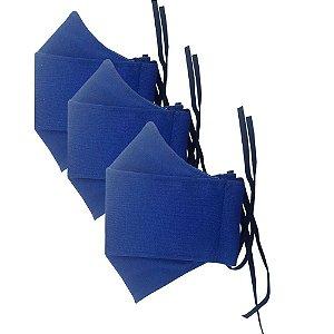 Kit c/ 3 Máscaras de Tecido 3D Azul - Tripla Camada