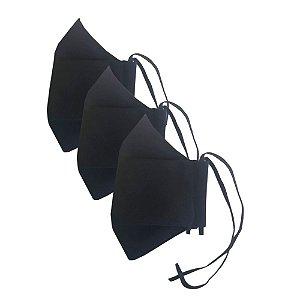 Kit c/ 3 Máscaras de Tecido 3D Pretas - Tripla Camada