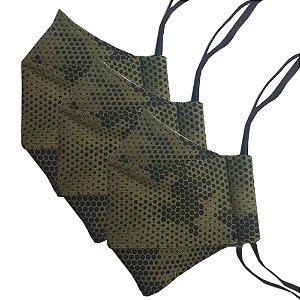 Kit c/ 3 Máscaras de Tecido 3D Camuflada Especial - Tripla Camada