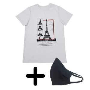 Camiseta Masculina Torre Eiffel + Máscara de Elástico Premium