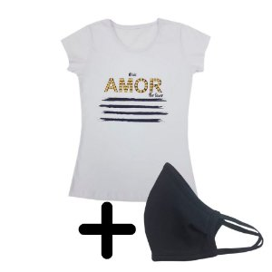 Blusa Amor Branca + Máscara Preta