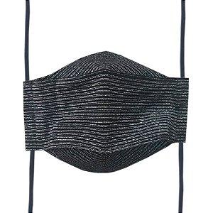 Máscara de Tecido 3D Listrada Lurex - Tripla Camada