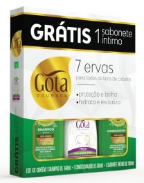 Kit Gota Dourada (SH 340ml + Cond 340ml + Sab Intimo Fresh 100ml) 7 Ervas