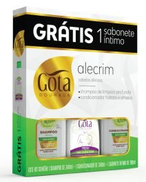 Kit Gota Dourada (SH 340ml + Cond 340ml + Sab Intimo Fresh 100ml) Alecrim