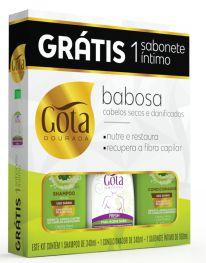 Kit Gota Dourada (SH 340ml + Cond 340ml + Sab Intimo Fresh 100ml) Babosa