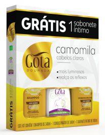 Kit Gota Dourada (SH 340ml + Cond 340ml + Sab Intimo Fresh 100ml) Camomila