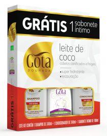 Kit Gota Dourada (SH 340ml + Cond 340ml + Sab Intimo Fresh 100ml) Leite de Coco