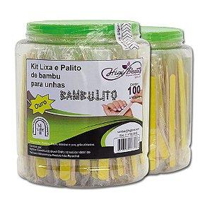 POTE LIXA OURO / PALITO BAMBU 12,5CM P/C C/ 100UN