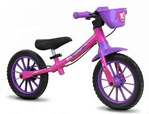 Bicicleta Aro 12 Balance Nathor Feminina Rosa Roxo