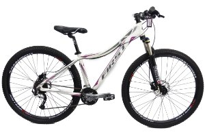 Bicicleta Aro 29 Usada First T15.5 24Vel Branco/Preto/Lilas