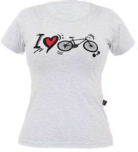 Camisa Casual Marcio May Feminina I Love Bike Mescla