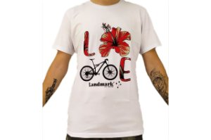 Camisa Casual Landmark Bike Flor Branco Reativo