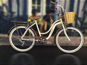 Bicicleta Aro 26 Usada Urbana Kuston 6V Bege/Marrom Cli: 5482