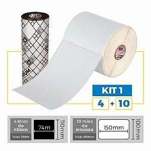 Kit 1  Mercado Livre - 10 Rolos Etiqueta 100x150mm + 4 Ribbons 110x74m - Etitec