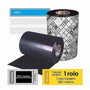 Fita para Impressão (Ribbon) Cera Premium 110x300 - Etitec