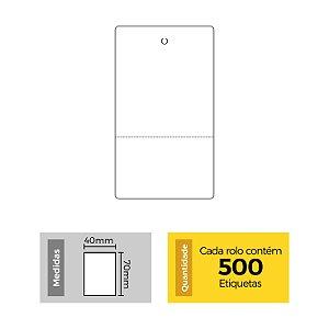 Etiqueta Tag 40x70mm com Picote - Neutra - Etitec