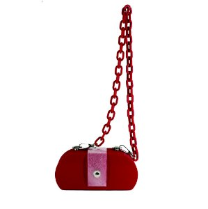 Bolsa Clássica Vermelha Detalhe Transparente