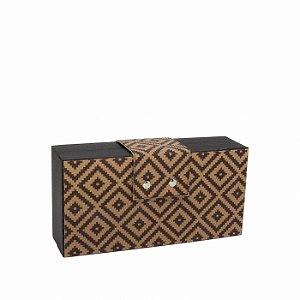 Bolsa Clutch Feminina Pequena Preta Estampada Geométrica Marrom
