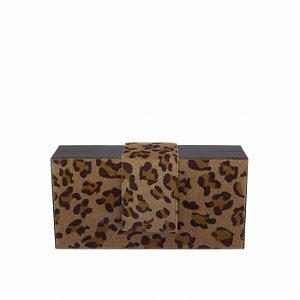 Bolsa Clutch Feminina Pequena Preta Estampada Onça Texturizada
