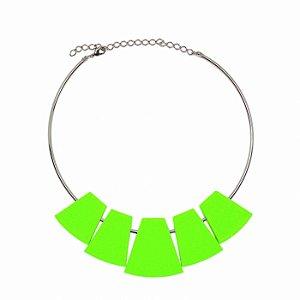 Colar Choker Verde Oliva Neon
