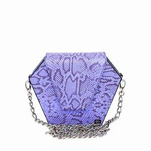 Bolsa Diamante Transversal Feminina Média Piton Azul Alça Corrente