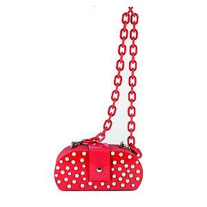 Bolsa Clássica Vermelha Pérolas