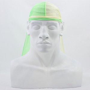 Bandana Durag Tradicional Meio a Meio Verde Neon e Amarela