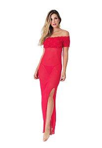 Camisola Rendada Longa Luxo Vermelha - 2622