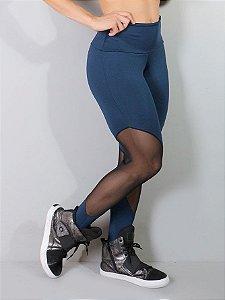Legging Fitness com Tule Azul Marinho - 0377