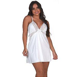Camisola Sensual Luxo em Renda Sem Bojo Branca Diário Íntimo