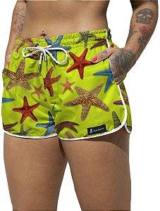 Short Jon Cotre Estrelas do Mar Verde Neon