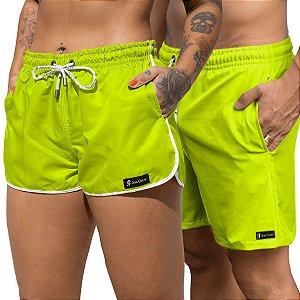 Short Jon Cotre Verde Neon Kit Casal