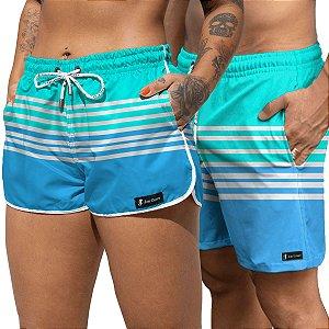 Short Jon Cotre Praia Listrado Aqua e Azul Kit Casal