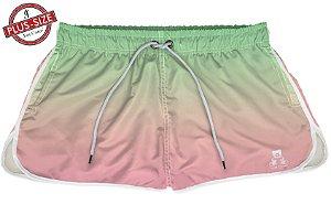 Short Jon Cotre Plus Size Feminino Degrade Verde e Rosa claro