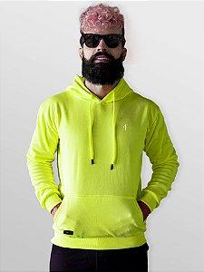 Blusa moletom canguru verde neon com capuz e bolso Jon Cotre – Unissex Adulto
