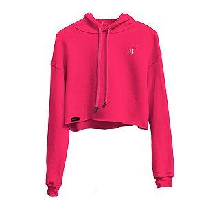 Blusa Moletom Cropped Rosa neon com capuz Jon Cotre Feminino - Infantil