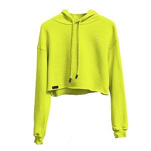 Blusa Moletom Cropped Verde neon com capuz Jon Cotre Feminino - Infantil