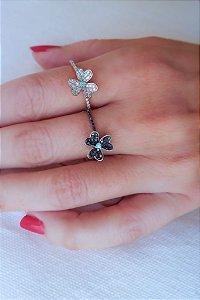 Anel Slim Trevo Turmalina Paraíba Diamantes negro