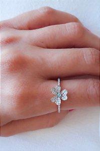 Anel Slim Trevo Turmalina Paraíba/Diamantes