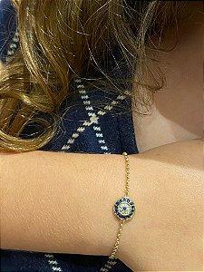 Pulseria Olho Grego com diamantes e safiras