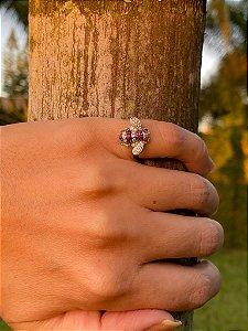 Anel Bee Rubi e Diamantes