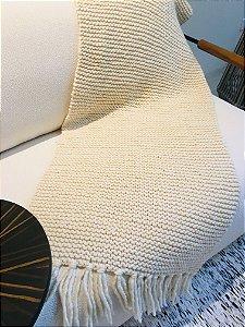 Manta Gionava - lã de carneiro - crú - 0,60 x 1,75