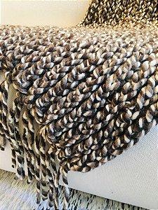 Manta Tear de prego - lã de carneiro - marrom/cru/cinza - 0,70 x 2,20