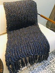 Manta Tear de prego - lã de carneiro - azul/cinza - 0,60 x 2,15