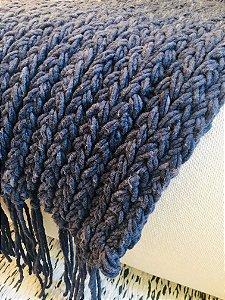Manta Tear de prego - lã de carneiro - azul - 0,60 x 2,30