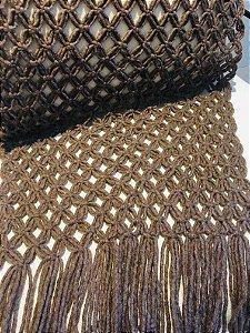 Manta Tricot gigante c/ franja macramé - lã de carneiro - marrom - o,60 x 2,90