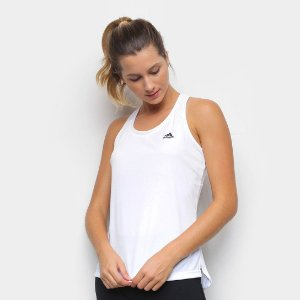 Camiseta Regata Adidas 3 Listras Costas Branca