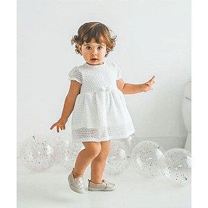 Vestido Bebê  Off white de linha