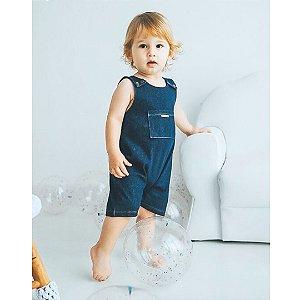Macacão Curto Bebê em Cotton Jeans