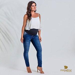 Calça Gestante Jeans Skinny com cós alto em Suplex